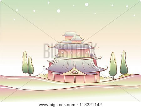 Whimsical Illustration of a Traditional Chinese Temple