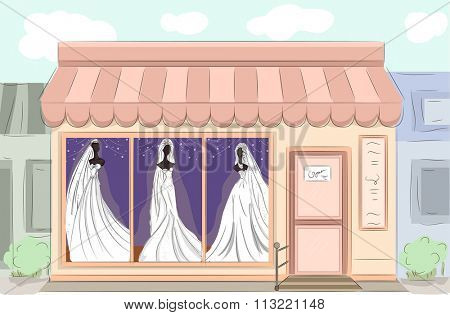 Illustration of a Boutique Displaying Bridal Gowns with Different Styles