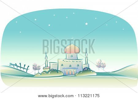 Whimsical and Doodly Illustration of a Muslim Mosque