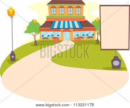 Illustration of a Restaurant with a Blank Sign Standing by the Driveway