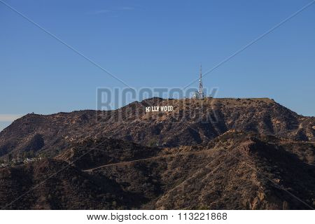 Hollywood sign from a viewer, located in Mount Lee