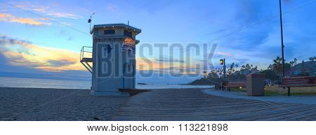 Panoramic view of the boardwalk at Main beach in Laguna Beach