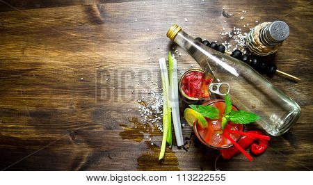Making A Cocktail With Vodka, Tomato Paste And Other Ingredients On Wooden Background . Free Space F