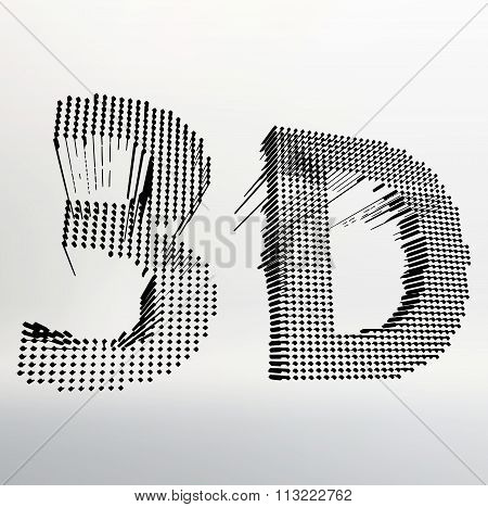 inscription-3D. illustration of 3D word. Vector illustration eps 10.