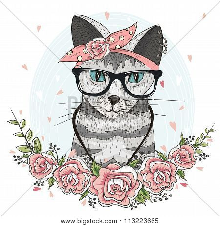 Cute Hipster Cat With Glasses, Scarf And Flowers.