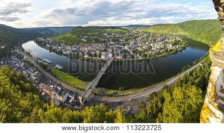 Panoramic image of Traben Trarbach or Traben-Trarbachtown on the Middle Moselle River in the Bernkastel-Wittlich district in Rhineland-Palatinate, Germany, Europe