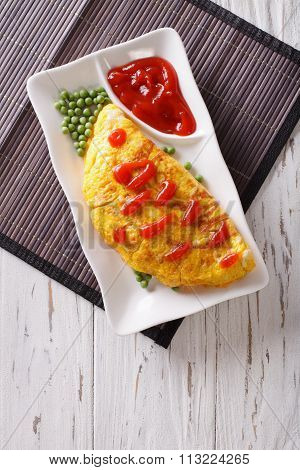 Omurice Omelet Stuffed With Rice. Vertical Top View