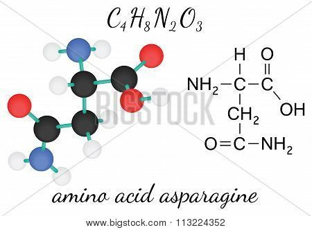 C4H8N2O3 asparagine amino acid molecule