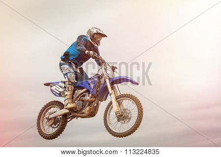 Pomorie, Bulgaria - March 24: 2013 - Motorbike In Flight, Bike Jump At The