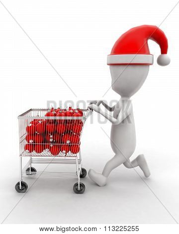 3D Man Moving Trolley With Christmas Decors In It Concept