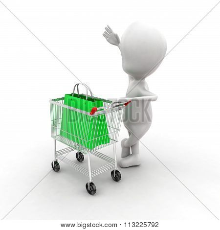 3D Man Presenting Trolley With A Shopping Bag In It Concept