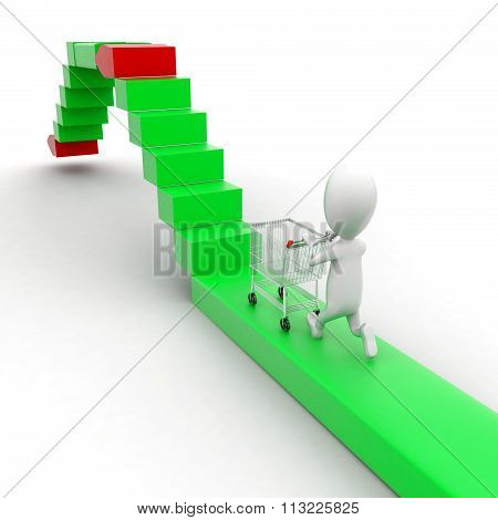 3D Man Moving Trolley On High To Low Static Srrow Concept