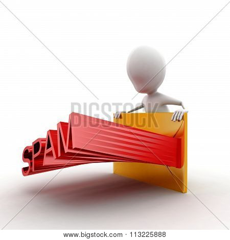 3D Man Presenting A Mail- Letter - Projecting Spam Text Concept