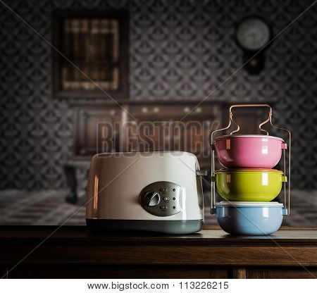 Colorful Tiffin Carrier And Toaster On Wooden Cupboard