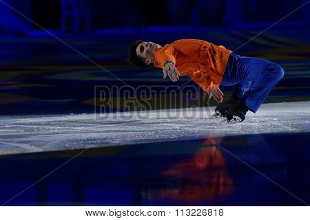 ST. PETERSBURG, RUSSIA - DECEMBER 29, 2015: Figure skater in a scene of the New Year show Little Brother and Karlsson-on-the-Roof of Ilya Averbukh in the Sports center Yubileyniy