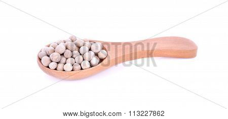 Thai Pepper Spices Whit Wooden Spoon On White Background