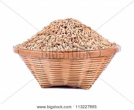 Rice Basket Isolated On White Background