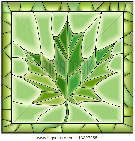 Vector Green Illustration Of Maple Leaf From Tree.