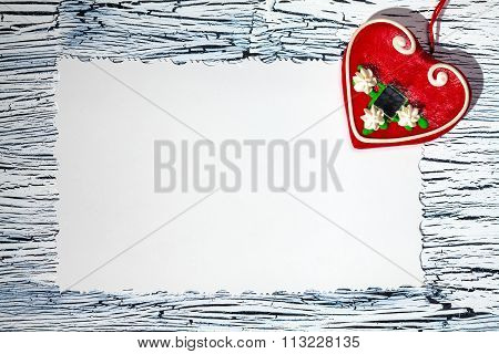 Colorful  Red Heart On Vintage White Paper