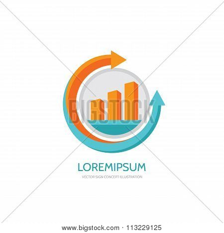 Business finance logo - vector concept illustration. Business economic logo. Arrows and infographic