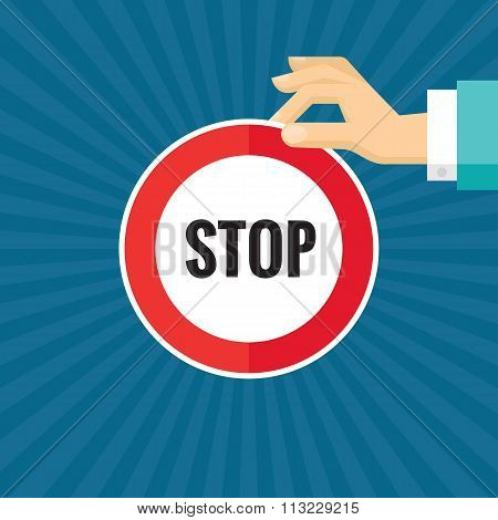 Human hand with stop sign - concept vector illustration in flat style design for creative projects.