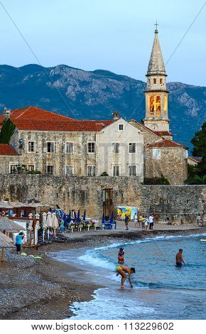 Evening View Of Beach Near Old Town Of Budva, Montenegro
