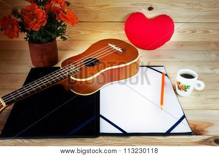 (vintage And Instagram Look) Of Classic Ukulele With Blank A4 Note In Love Song Creative Or Arrangem