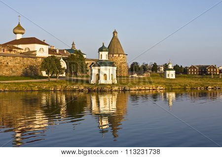 Transfiguration of Jesus Christ Savior Solovetskiy monastery on Solovki islands (Solovetskiy archipelago) in White sea Russia UNESCO World Heritage Site.