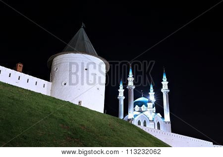 The Walls Of The Kazan Kremlin Kul-sharif Mosque At Night