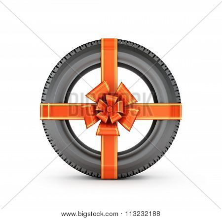 ?ar Tire With A Red Bow