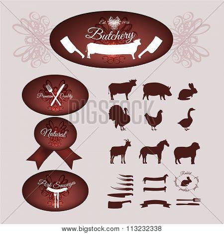 Set of the butchery logo, labels, livestock silhouette and vintage design elements