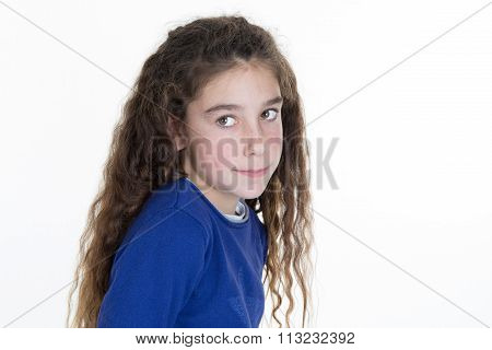 Portrait Of A Cute And Shy Young Girl, Isolated On White Background