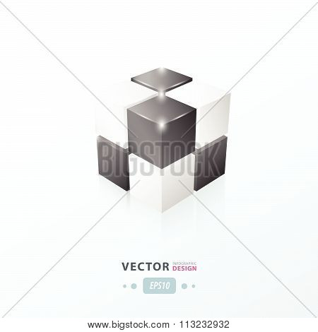 3D Cube Black And White Color