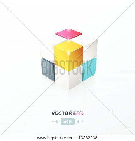 3D Cube Pink, Blue, Yellow