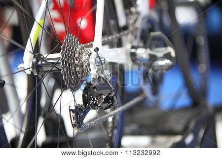 Road Bike Cassette On The Wheel With Chain