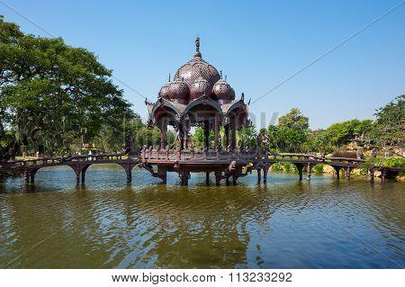 Pagoda And Bridge Over The Lake