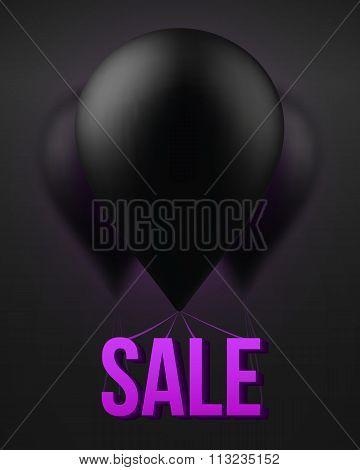 Big Black Balloon Vector Sale Template. Exclusive Deals Poster w