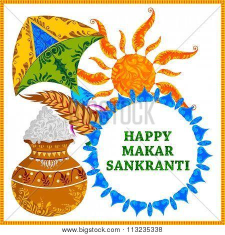 illustration of Makar Sankranti wallpaper with pot of rice