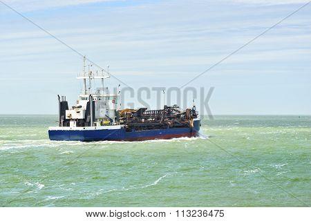 Blue Cargo Ship (tanker) Is Sailing Near Vlissingen, The Netherlands