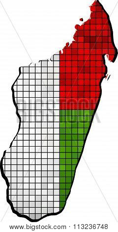Madagascar Map With Flag Inside.eps