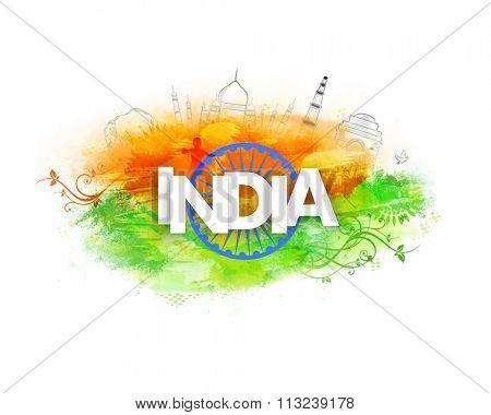 Stylish white text India with Ashoka Wheel on creative background for Happy Indian Republic Day celebration.
