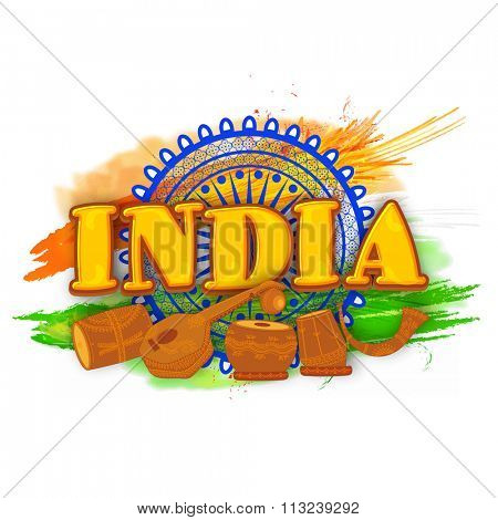 Stylish text India with musical instruments on Ashoka Wheel and National Flag colour paint stroke background for Happy Indian Republic Day celebration.
