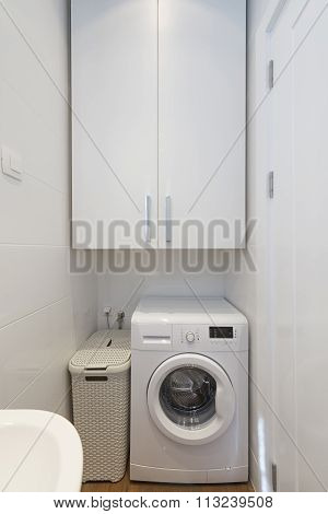 Small laundry room interior