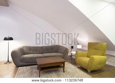 Living Room In Attic Apartment