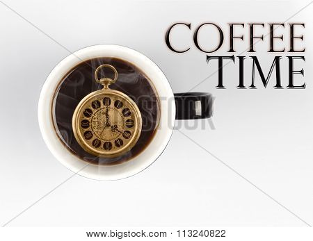 Coffee Time Concept - Watch Inside Mug On White 4 O'clock