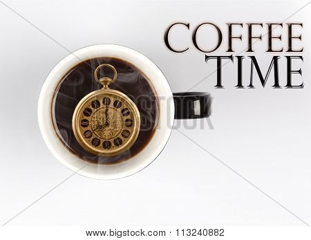 Coffee Time Concept - Watch Inside Mug On White 8 O'clock