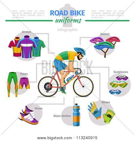 Road bike uniforms vector infographic