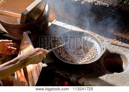 Traditional Roasting Coffe In Bowl