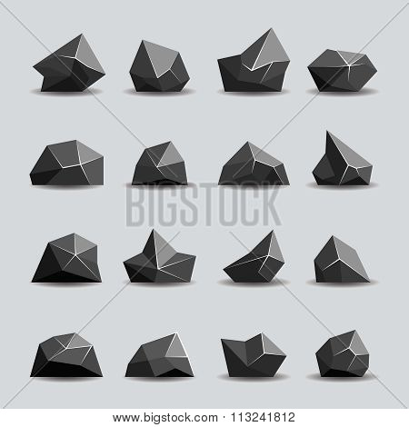 Black polygon stone and poly rocks