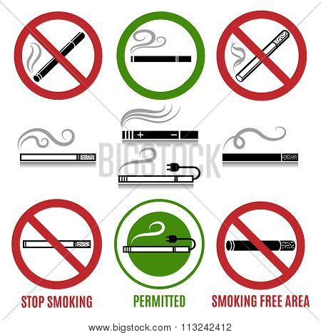 Sign of cigarette and no smoking sign vector